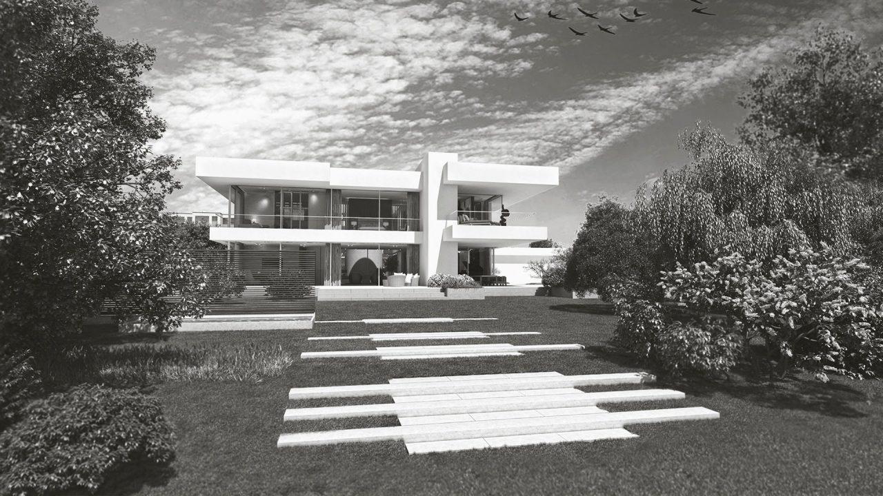 Exterieur und Interieur Visualisierung Moderne Villa