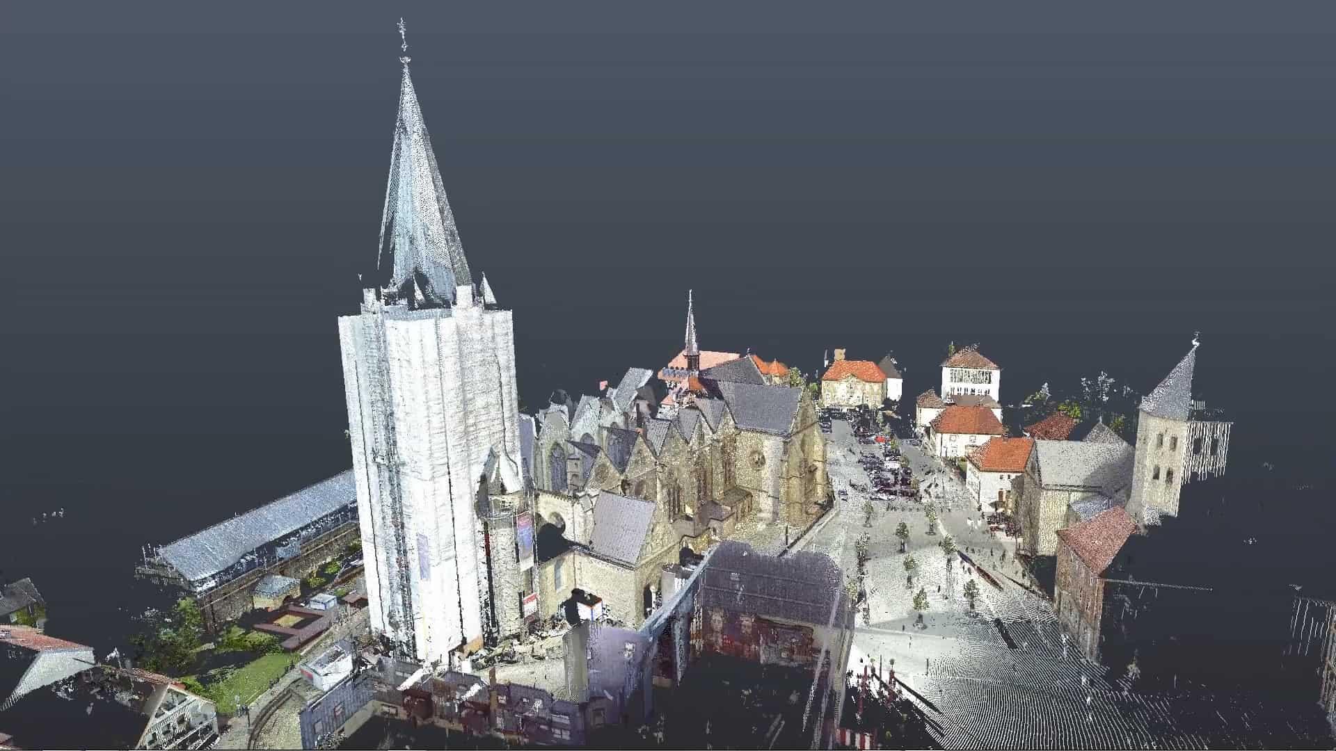 3D-Scan des Paderborner Doms mittels 3D-Laserscan und Drohnenaufnahmen