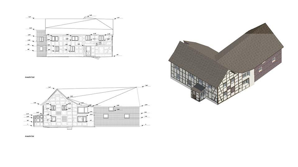 3D-Bestandsaufnahme 2D Plan Zeichung