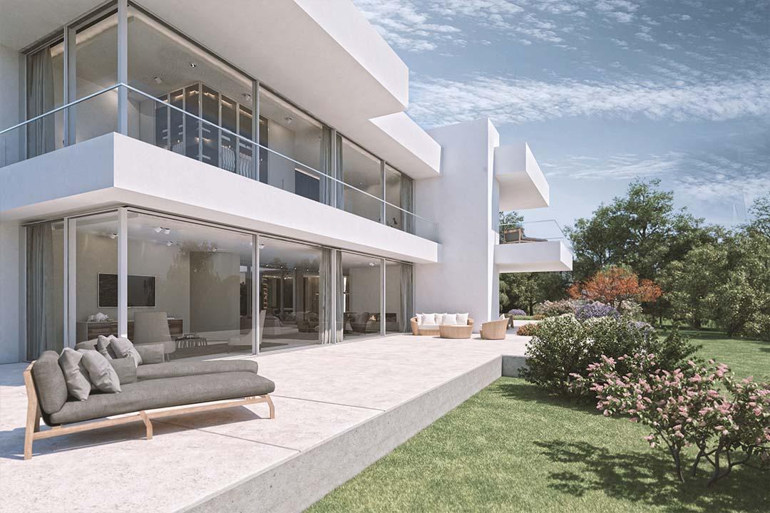 Exterieur und Interieur Visualisierung in 3D - Moderne Land Villa ...