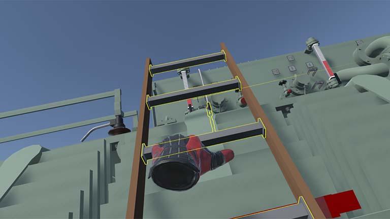 Klettern auf einen Transforator in VR