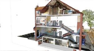 Gesamtschule Emschertal 3D Bestandsaufnahme Querschnitt